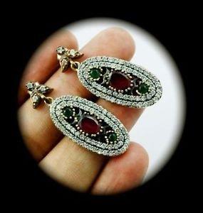 DIAMOND TOPAZ Vintage Ruby Emerald Gem SOLID 925 STERLING SILVER EARRINGS Gold