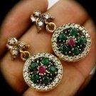 DIAMOND TOPAZ Estate RUBY EMERALD Gems SOLID 925 STERLING SILVER EARRINGS Gold