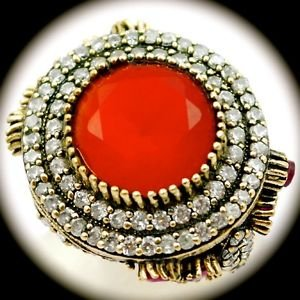 DIAMOND TOPAZ Estate Ruby/Rubies Gem SOLID 925 STERLING SILVER RING Size 11 Gold