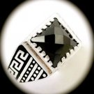 RARE Greek Key Vintage MAN Hematite Gems SOLID 925 STERLING SILVER RING Size 8.5