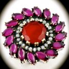 DIAMOND TOPAZ Estate Ruby/Rubies Gems SOLID 925 STERLING SILVER RING Sz 7.5 Gold