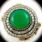 DIAMOND TOPAZ Estate Emerald Gemstones SOLID 925 STERLING SILVER RING Sz 8 Gold