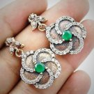 DIAMOND TOPAZ Turkish Emerald Topaz Gemstone 925 Sterling Silver Earrings GOLD