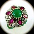 DIAMOND TOPAZ Estate Ruby Emerald Gems SOLID 925 STERLING SILVER RING Sz 8 Gold
