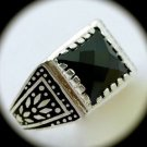 RARE Vintage Estate MAN Hematite Gemstone SOLID 925 STERLING SILVER RING Size 11