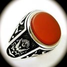 OTTOMAN EMPIRE Vintage MAN Carnelian Gem SOLID 925 STERLING SILVER RING Size 9.5