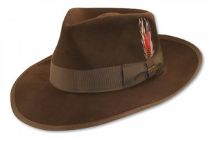 "Mens BROWN WOOL ZOOT SUIT HAT Fedora 3"" Brim Top S M L"