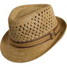 Licensed * TOMMY BAHAMA RAFFIA FEDORA HAT * VENTED TAN