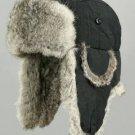 BLACK RABBIT FUR BOMBER TROOPER USHANKA SNOW HAT * XXL