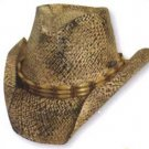 BLACK BROWN RAFFIA STRAW COWBOY HAT * Toby Keith Style