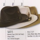 Stacy Adams * BLACK FEDORA TOYO STRAW HAT SUN SAFARI M