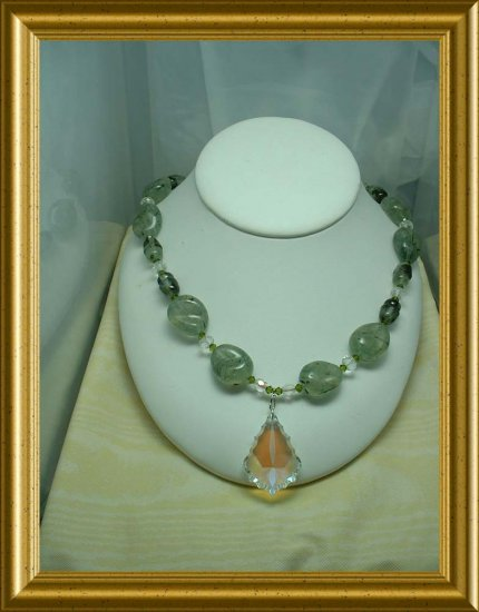 Prehnite and Crystal Necklace
