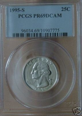 1995-S Proof Washington Quarter  PR69DCAM PCGS!!!
