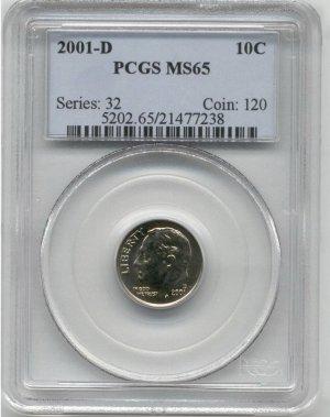 2001 D Roosevelt Dime PCGS MS65!!!