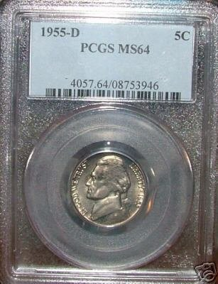 1955 D Jefferson Nickel PCGS MS64!!!