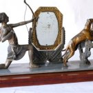 FRENCH ART DECO  WOMAN HUNTER SCULPTURE VANITY MIRROR