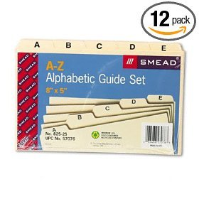 "Smead A-Z Alphabetic File Guides 8""X5"" 57076 Qty 12 Sets FREE SHIPPING"