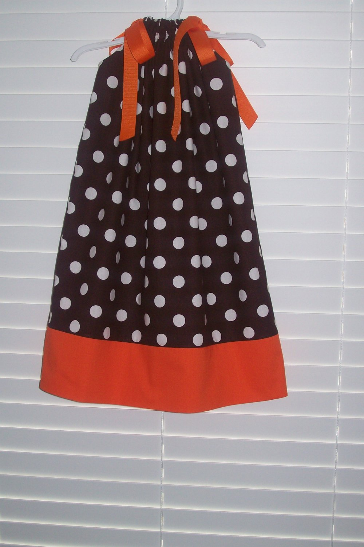 Chocolate Brown White Polka Dot Fall  Thanksgiving Pillowcase Dress