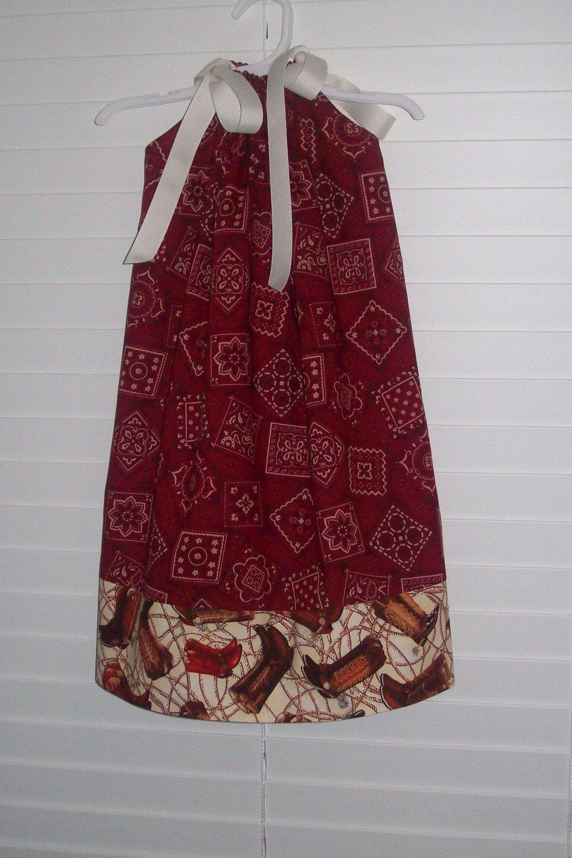 Rodeo Cowgirl Red Bandana Pillowcase Dress