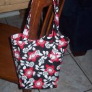 Small Tote Bag - Girls size- Red Flowers Black Background