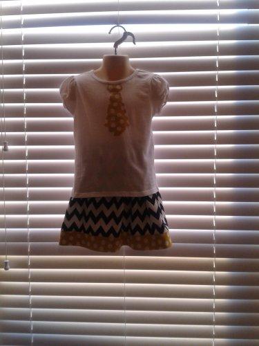 Girls Black Chevron Twirl Skirt Outfit