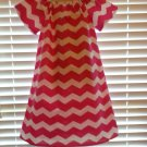 Pink and White Chevron Peasant Dress