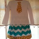Tie Shirt w/Aqua Chevron Twirl Skirt