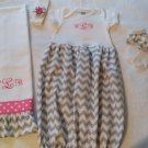 Monogramed Gray Chevron Layette Set