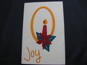 "(JOY 02) ""Joy"" Candle Handmade Greeting Card"