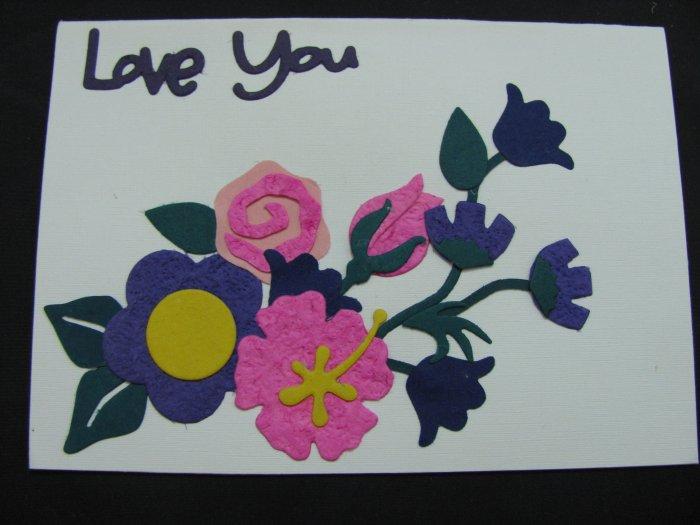 "(LVY 02) ""Love You"", Pink Rose Handmade Greeting Card"
