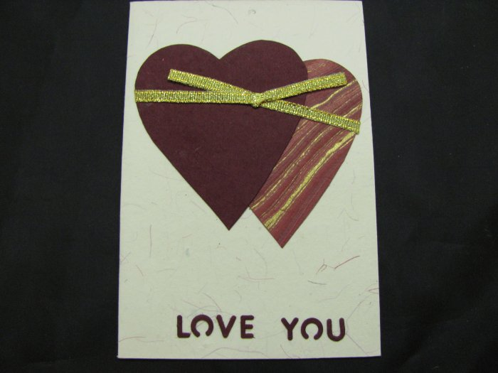 "(HRT 31) ""Love You"", Maroon Hearts Handmade Greeting Card"