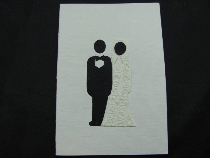 (WDG 02) Bride & Groom White Wedding Handmade Greeting Card