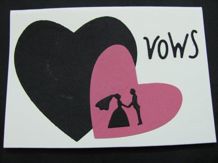 "(VWS 01) ""Vows"", Pink & Black Hearts Wedding Handmade Greeting Card"