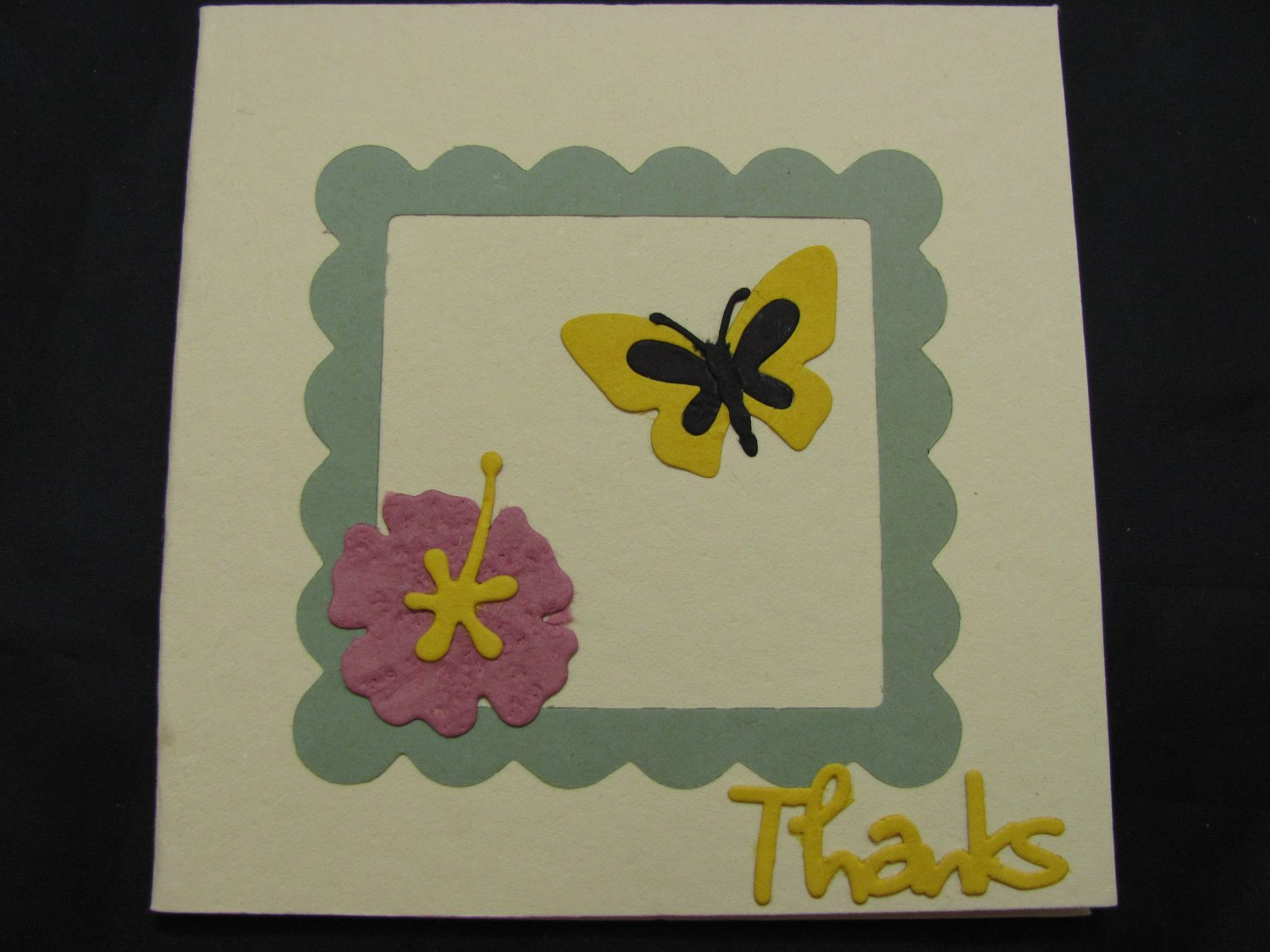 """(THKS01) """"Thanks"""", Yellow Butterfly Handmade Greeting Card"""