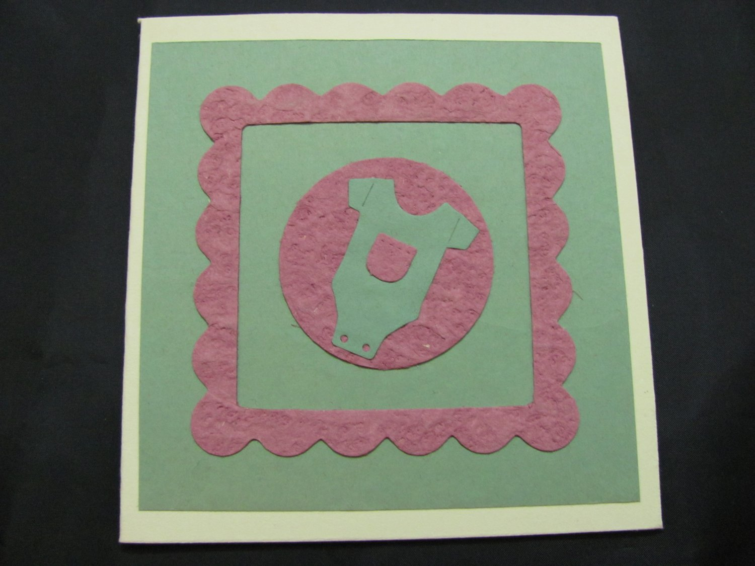 (BBY 04)  Pink & Green Baby Clothes Handmade Greeting Card