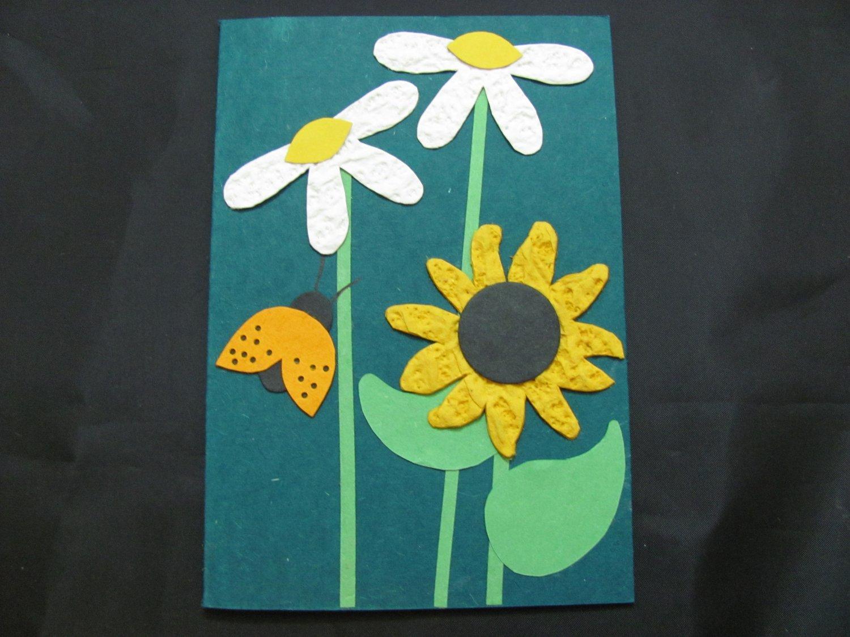 (FLR 30)  Textured Daisies & Ladybug Handmade Greeting Card