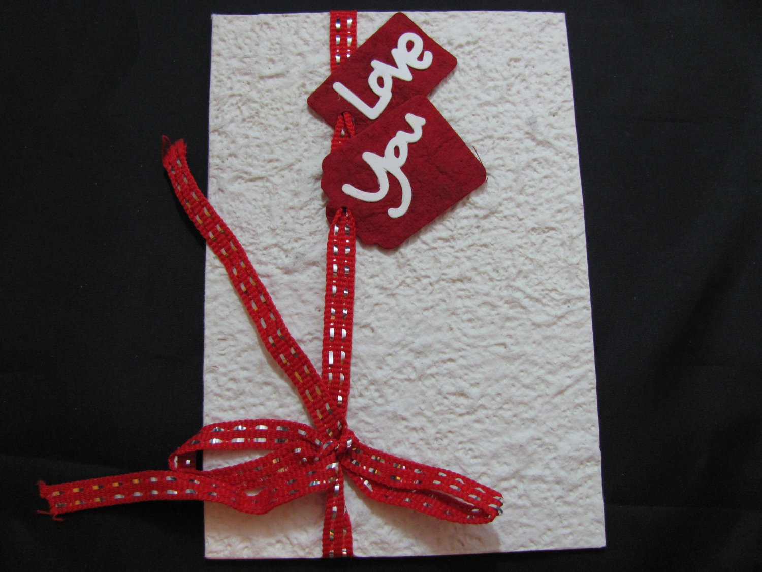 """Love You"" Valentines Day, Red Envelope Handmade Greeting Card"