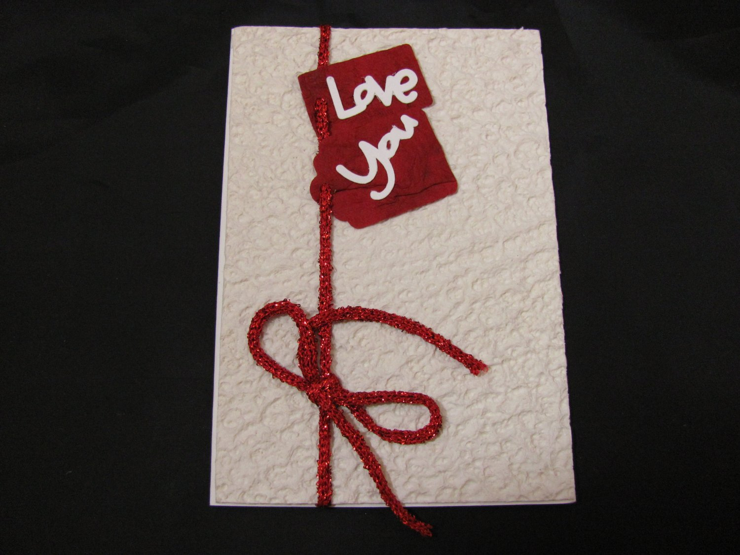 """Love You"" Valentines Day, White Envelope Handmade Greeting Card"