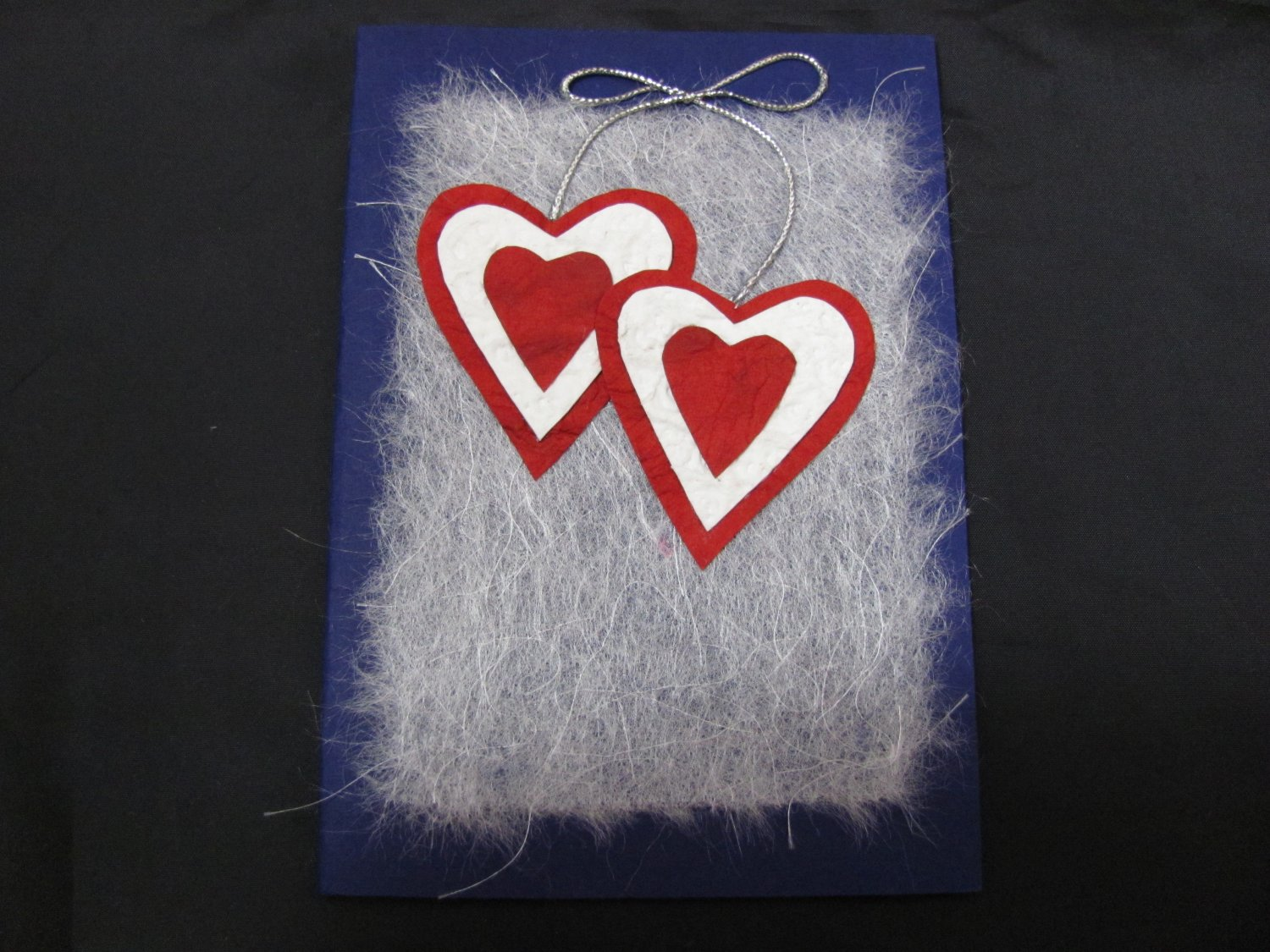 (HRT 23) Two Textured Hearts Handmade Greeting Card