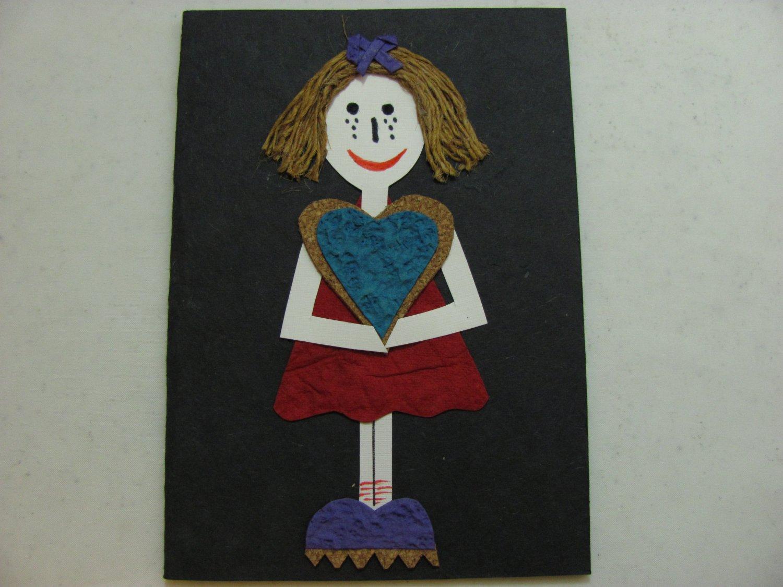 (HRT 17) Girl Holding Hearts Handmade Greeting Card