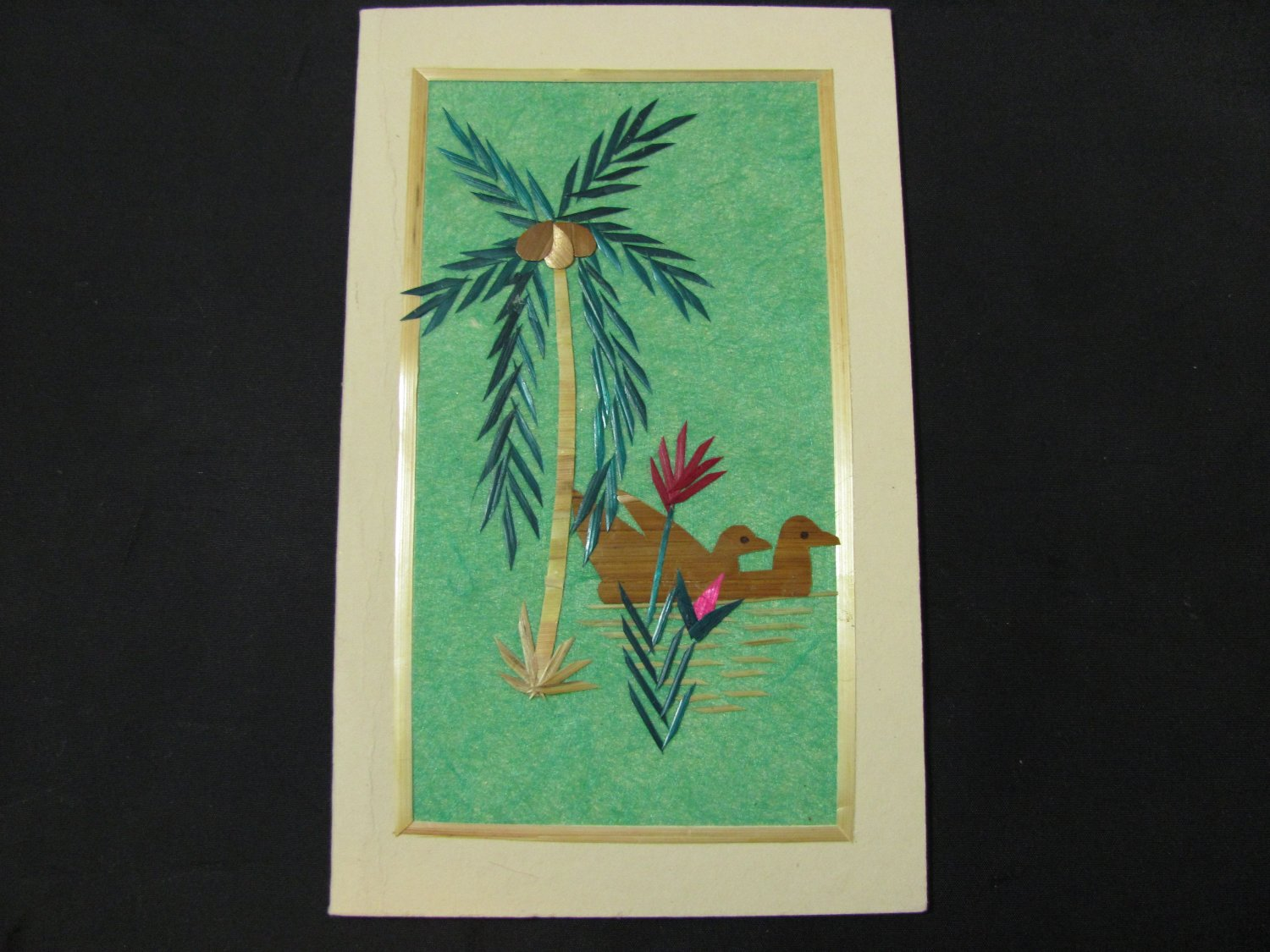 (SPEC 01) Palm Tree & Ducks Wheat Straw Handmade Greeting Card