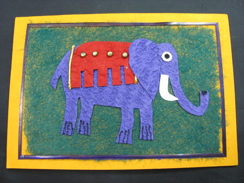 (ANM 07) Purple Elephant Handmade Greeting Card
