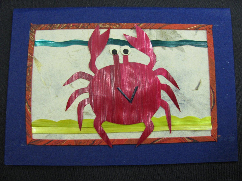 (ANM 02) Happy Crab Wheat Straw Handmade Greeting Card