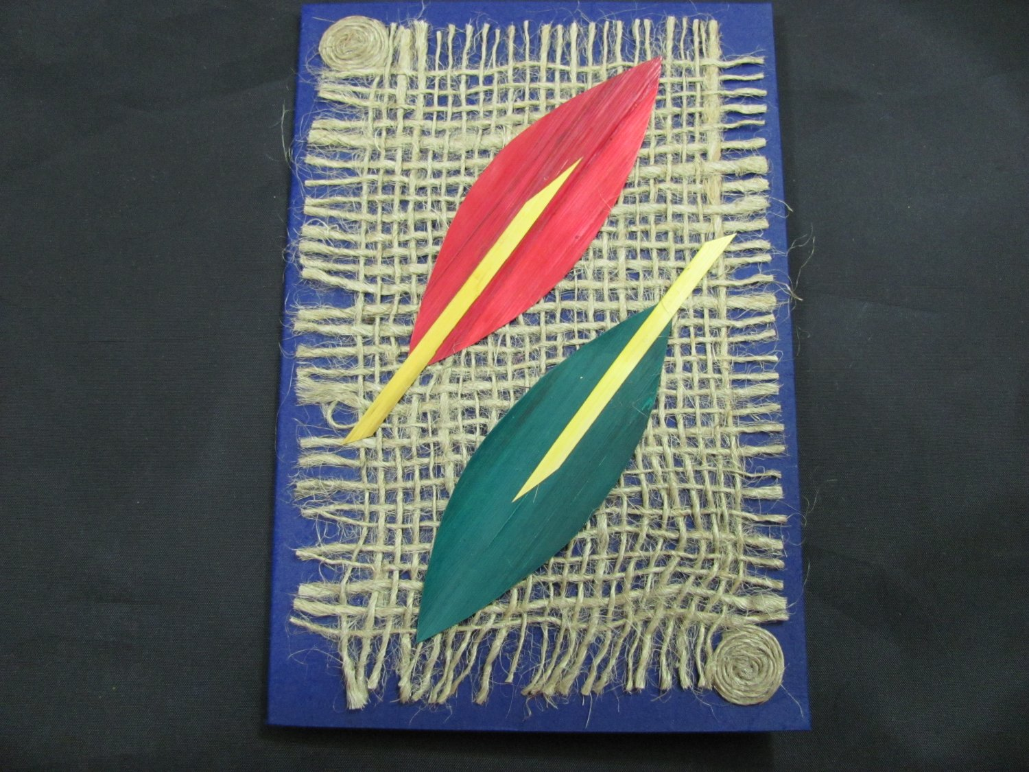 (PLT 03) Red & Green Wheat Straw Leaves on Jute Handmade Greeting Card