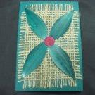 (PLT 04) Four Green Wheat Straw Leaves on Jute Handmade Greeting Card