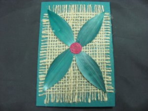 (PLT 04) Four Green Wheat Straw Leaves on Jute Handmade Greeting Card