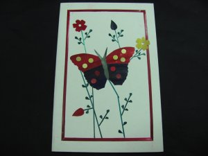 (FLR 07) Wheat Straw Large Butterfly & Flowers Handmade Greeting Card