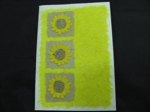 (FLR 41) Three Yellow Flowers Handmade Greeting Card