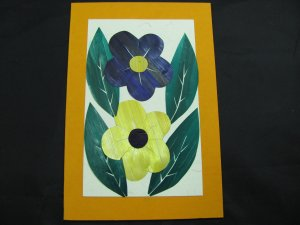(FLR 10) Two Large Wheat Straw Flowers Handmade Greeting Card