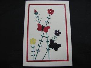 (FLR 06) Wheat Straw Small Butterflies & Flowers Handmade Greeting Card